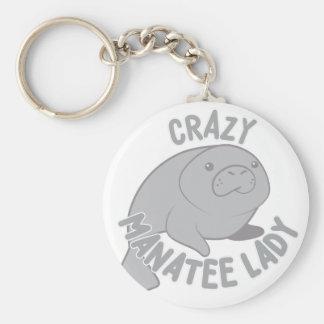 Crazy Manatee Lady Basic Round Button Keychain
