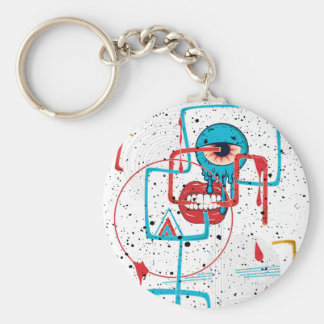 Crazy Monster Face Funny Basic Round Button Keychain