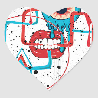 Crazy Monster Face Funny Heart Sticker