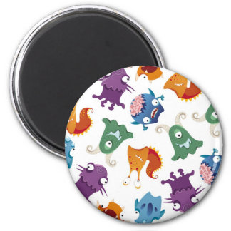 Crazy Monsters Fun Colorful Patterns for Kids 2 Inch Round Magnet