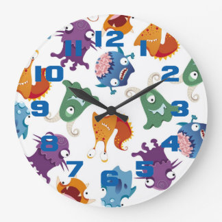 Crazy Monsters Fun Colorful Patterns for Kids Clocks