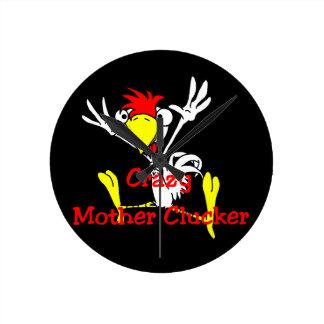 Crazy Mother Clucker Rooster Chicken Round Clock