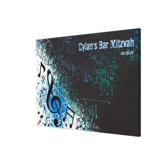 CRAZY MUSICAL NOTES Bar Mitzvah  Sign-In Board Canvas Print