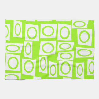 Crazy Neon Lime Green Fun Circle Square Pattern Kitchen Towel