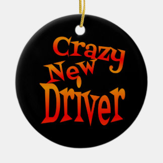 Crazy New Driver in Bright Colors Round Ceramic Ornament
