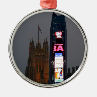 Crazy! New York City meets London Silver-Colored Round Ornament
