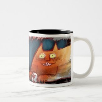 Crazy Orange Cat with Toothy Grin Coffee Mug