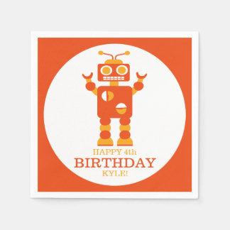 Crazy Orange Robot Personalized Birthday Party Disposable Napkin