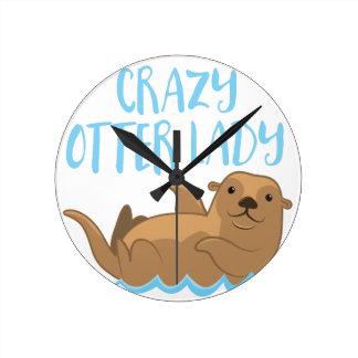 crazy otter lady cute! clock