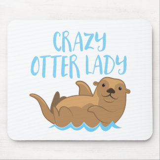 crazy otter lady cute! mouse pad