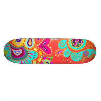 Crazy Paisley Doodle Orange/turquoise/yellow board Skate Board Deck