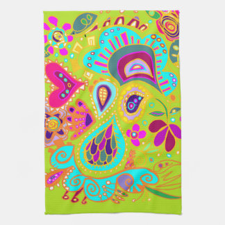 Crazy Paisley Towel in LIME green, pink, aqua