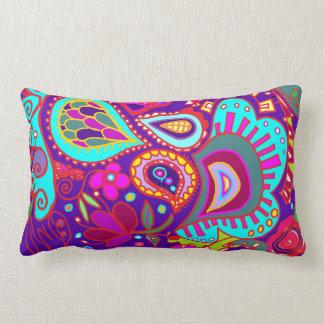 Crazy Paisley TWO sided Lumbar PURPLE & JADE Lumbar Pillow