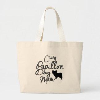 Crazy Papillon Dog Mom Large Tote Bag