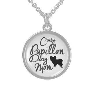 Crazy Papillon Dog Mom Sterling Silver Necklace