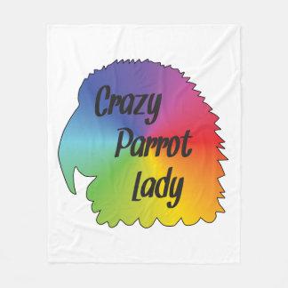 Crazy Parrot Lady Fleece Blanket