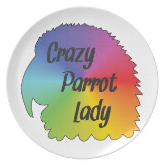 Crazy Parrot Lady Plate