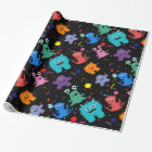 Crazy Party Monster Pattern Birthday Black Wrapping Paper