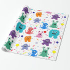 Crazy Party Monster Pattern Colourful Birthday Wrapping Paper