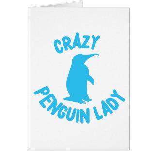 crazy penguin lady card