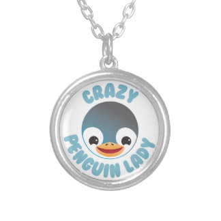 crazy penguin lady circle silver plated necklace