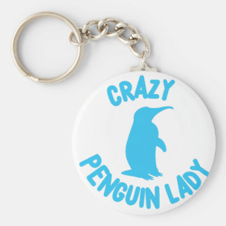 crazy penguin lady keychain