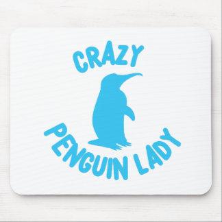crazy penguin lady mouse pad