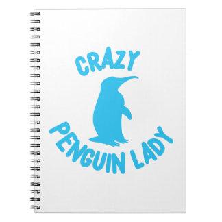 crazy penguin lady notebook