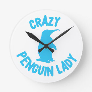 crazy penguin lady round clock