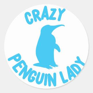 crazy penguin lady round sticker