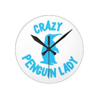 crazy penguin lady wallclocks