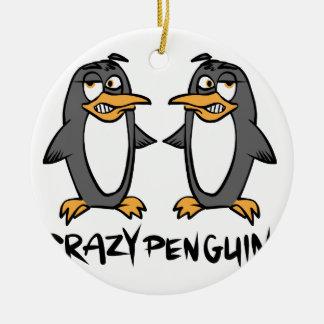 Crazy penguins ceramic ornament