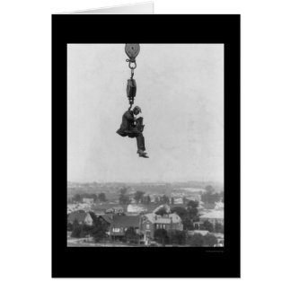 Crazy Photographer on the Hook of a Crane 1918 Card