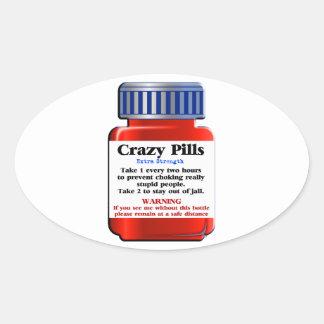Crazy Pills_ Oval Sticker
