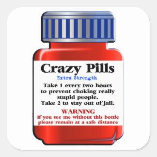 Crazy Pills_ Square Sticker