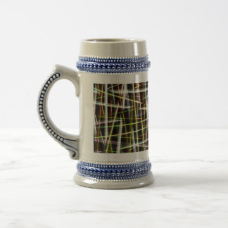 Crazy Plaid Abstract by Valxart.com 18 Oz Beer Stein