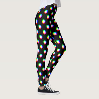 Crazy Polka Dots larger Custom Background Black Leggings