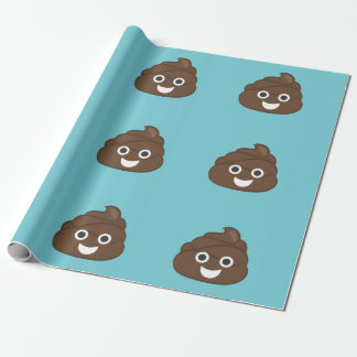 Crazy Poop Emoji Wrapping Paper (teal)