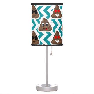 Crazy Poop Emojis Teal Patterned Table Lamp