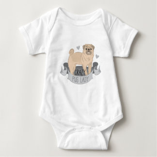 crazy pug lady banner baby bodysuit
