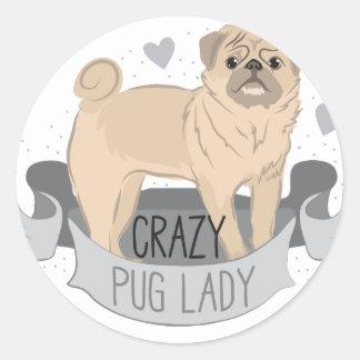 crazy pug lady banner round sticker