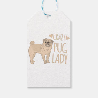 crazy pug lady pack of gift tags