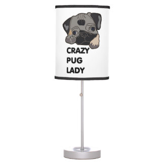 Crazy Pug Lady Table Lamp