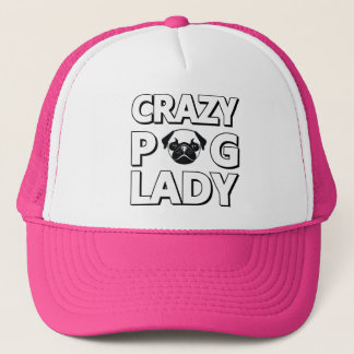 Crazy Pug Lady Typography Graphics Trucker Hat