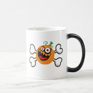 Crazy Pumpkin Skull and Crossbones Coffee Mug