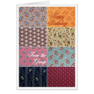 Crazy Quilt Happy Birthday From the Group Card