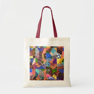 Crazy Quilt Patchwork Quilt Abstract Art Geometric Tote Bag