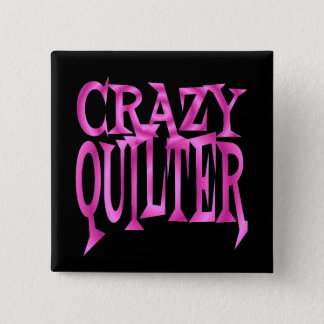 Crazy Quilter in Pink 2 Inch Square Button