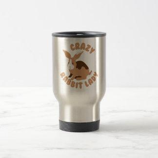 crazy rabbit lady circle travel mug