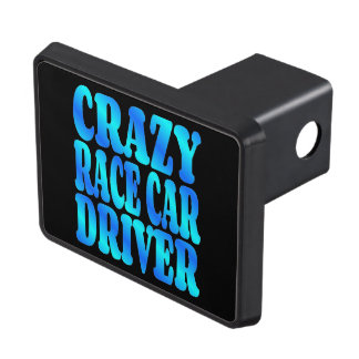 Crazy Race Car Driver Trailer Hitch Cover